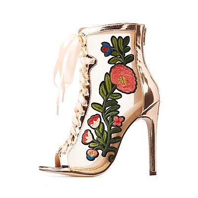 Embroidered Mesh Peep Toe Dress Sandals