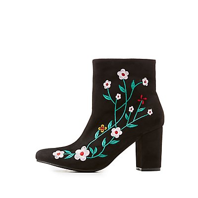 Embroidered Pointed Toe Ankle Booties