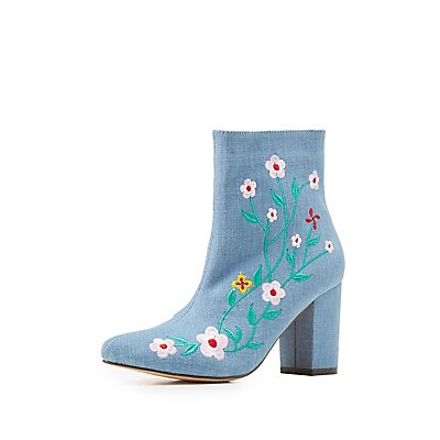 Embroidered Denim Ankle Booties