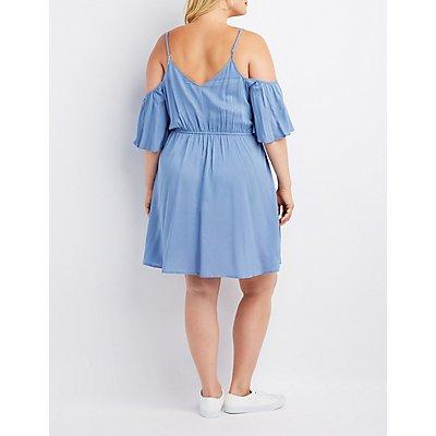 Plus Size Cold Shoulder Skater Dress
