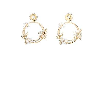 Embellished Floral Hoop Earrings