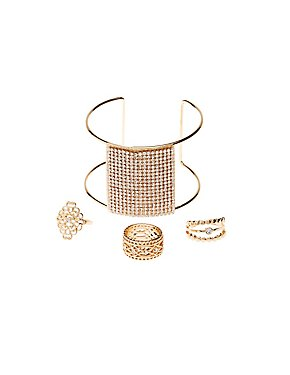 Embellished Stacking Rings & Cuff Bracelet
