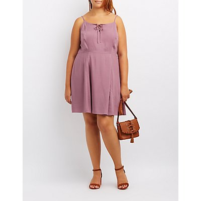 Plus Size Lace-Up Skater Dress