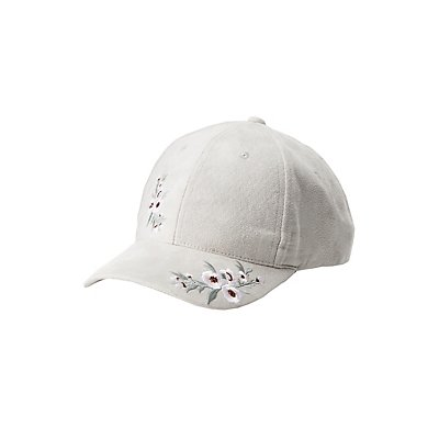 Embroidered Faux Suede Baseball Hats