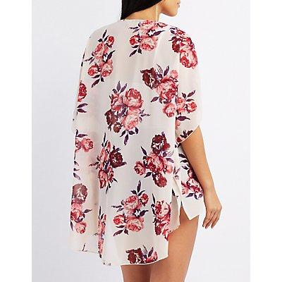 Floral Print Slit Kimono