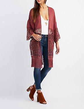Mixed Crochet Fringe Kimono