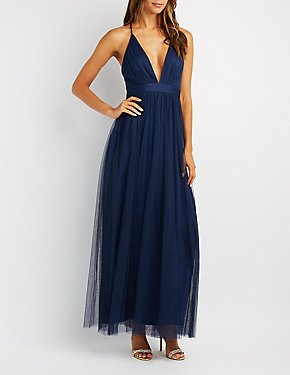 Pleated Mesh Tulle Gown