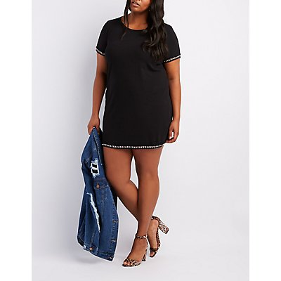 Plus Size Chain-Trim T-Shirt Dress