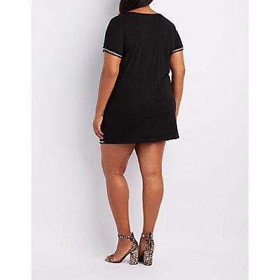 Plus Size Chain-Trim T-Shirt Dress