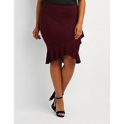 Plus Size Ruffle-Trim Wrap Skirt