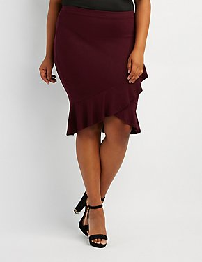 Plus Size Ruffle-Trim Wrap Skirt