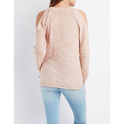 Slub Knit Cold Shoulder Sweater