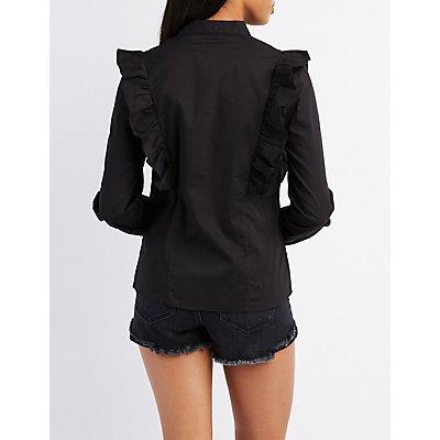 Ruffle-Trim Button-Up Shirt