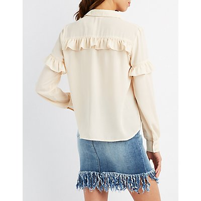 Ruffle-Trim Button-Up Top