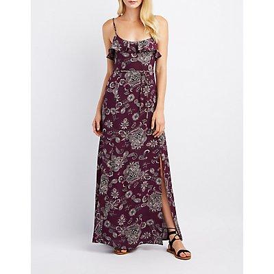 Paisley Ruffle-Trim Maxi Dress