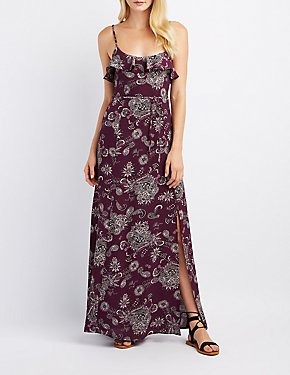 Paisley Ruffle-Trim Maxi Dress