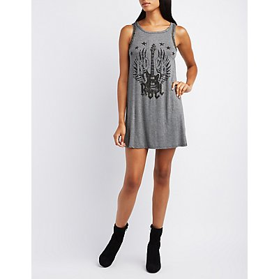 Braided Graphic Swing Dress