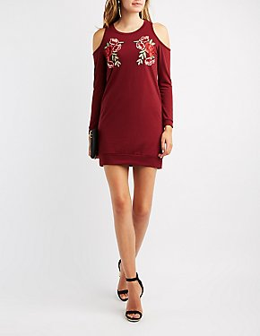 Floral Embroidery Cold Shoulder Shirtdress