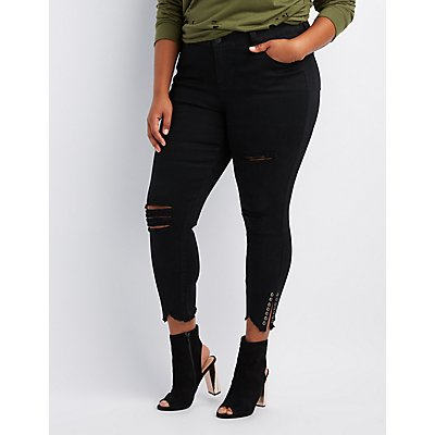 Plus Size Destroyed Grommet Skinny Jeans