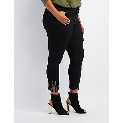 Plus Size Destroyed Grommet Skinny Jeans