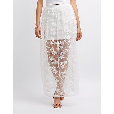Embroidered Mesh Maxi Skirt