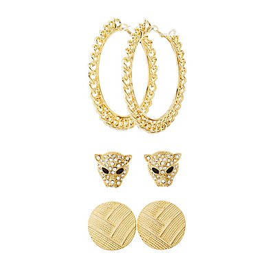 Panter Studs & Hoop Earrings - 3 Pack