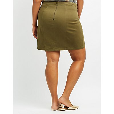 Plus Size Lace-Up Mini Skirt