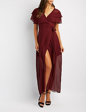 Ruffle-Trim Wrap Maxi Dress