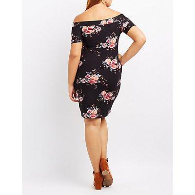 Plus Size Floral Off-The-Shoulder Bodycon Dress
