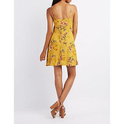 Floral Lace-Up Skater Dress
