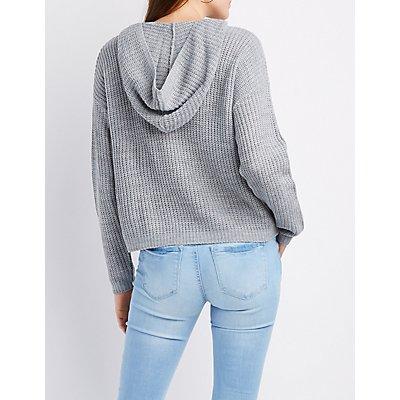 Shaker Stitch Hoodie Sweater