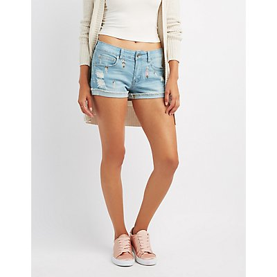Embroidered Destroyed Denim Shorts