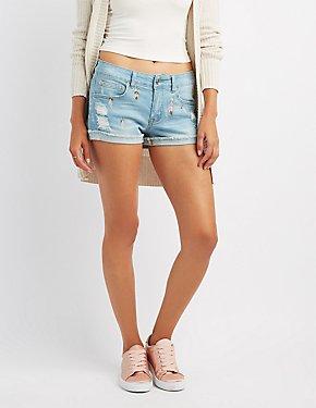 Embroidered Destroyed Denim Shorts