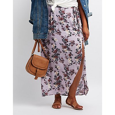 Plus Size Floral Maxi Skirt