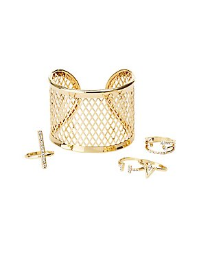 Geometric Cuff Bracelet & Rings Set