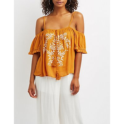 Embroidered Fringe Cold Shoulder Top