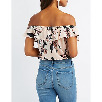 Floral Off-The-Shoulder Lace-Up Crop Top