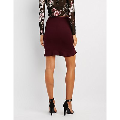 Ruffle-Trim Pencil Skirt