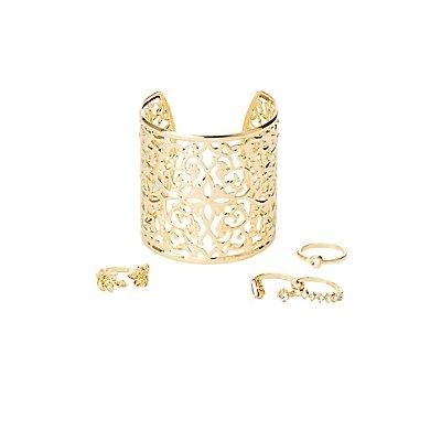 Filigree Cuff Bracelet & Rings Set