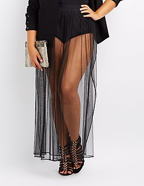 Plus Size Sheer Mesh Maxi Skirt