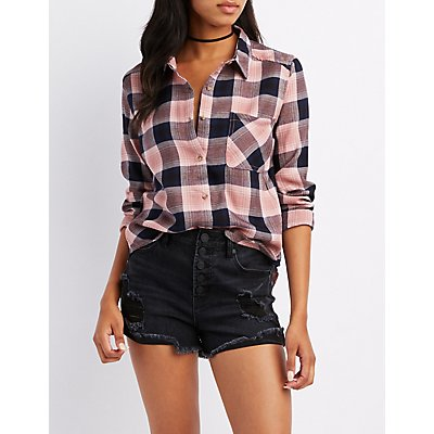 Plaid Collard Pocket Button-Up Shirt