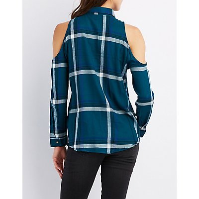 Cold Shoulder Pocket Button-Up Top