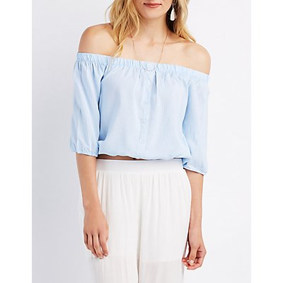 Striped Off-The-Shoulder Button-Up Top