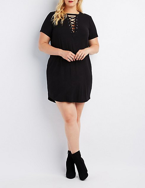 Plus Size Ribbed Lace Up T Shirt Dress Charlotte Russe
