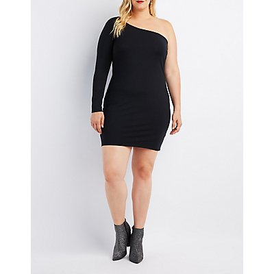 Plus Size One-Shoulder Bodycon Dress