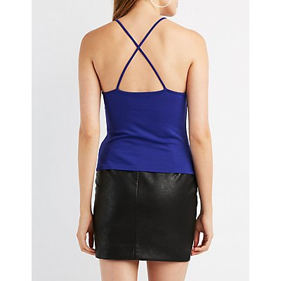 Strappy Mesh-Inset Tank Top