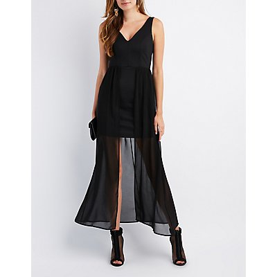 V-Neck Overlay Maxi Dress