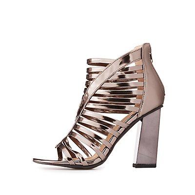 Metallic Caged Block Heel Sandals