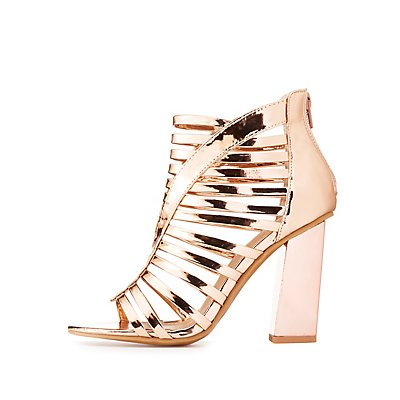 Metallic Caged Block Heel Sandals