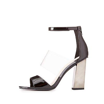 Three-Piece Metallic Heel Sandals